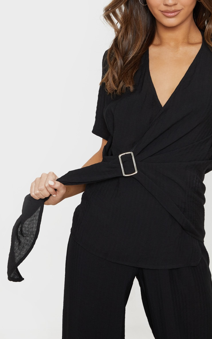 Black Longline Short Sleeve Shirt 5