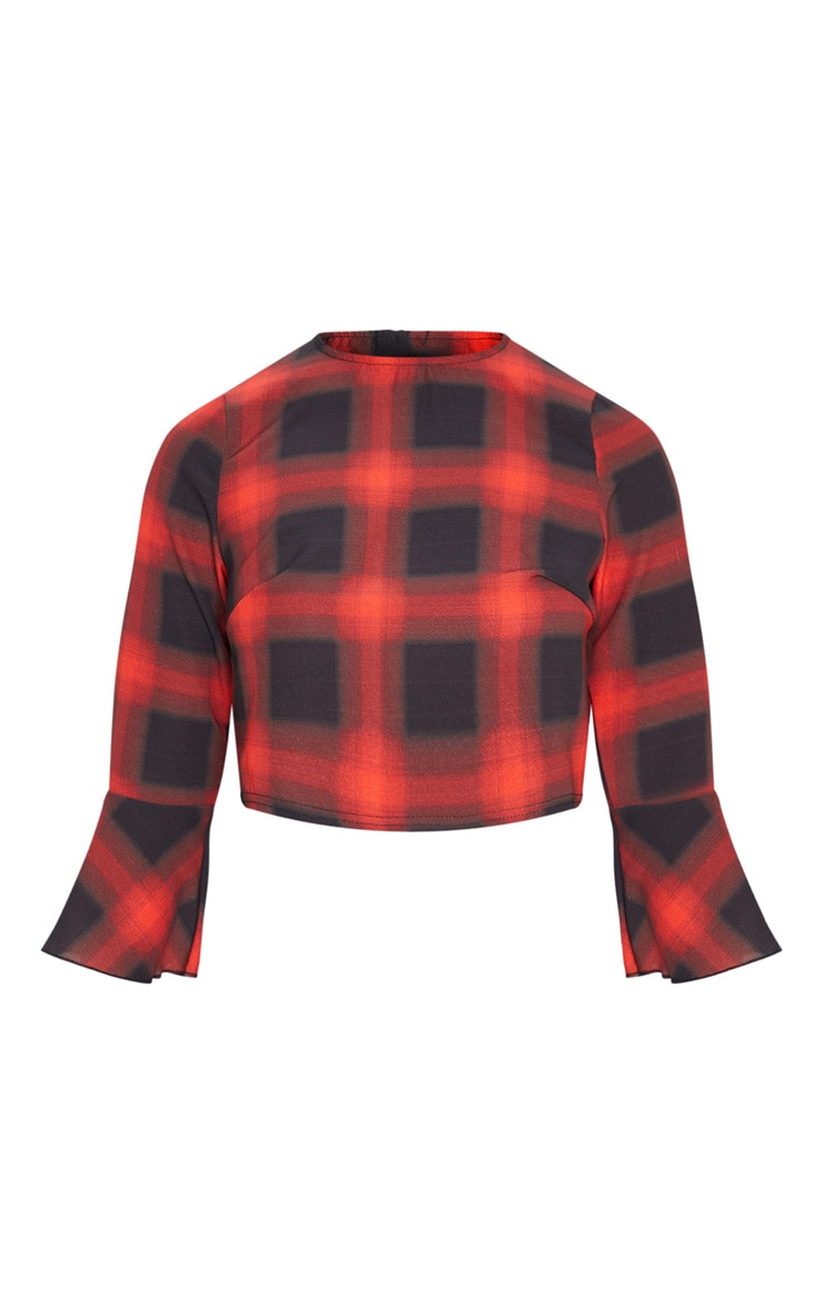 Petite Red Check Cropped Blouse 4