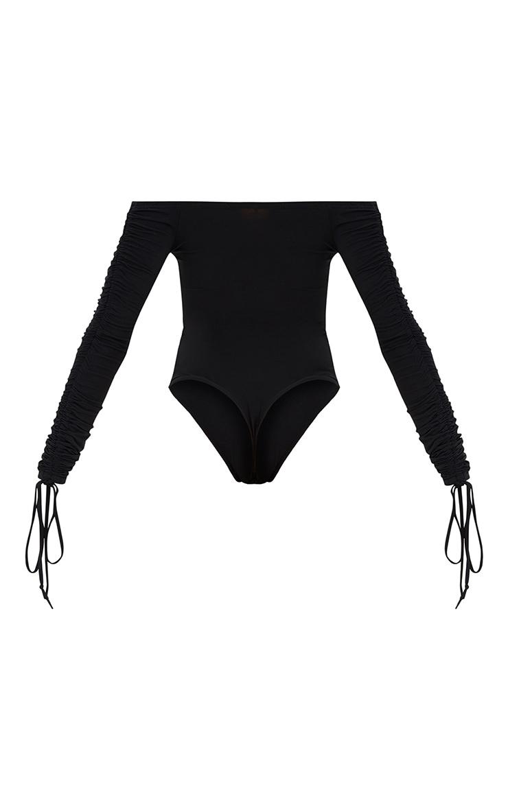 Black Ruched Tie Sleeve Bardot Thong Bodysuit 4