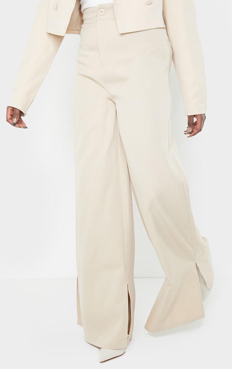 Stone Satin Wide Leg Split Hem Pants 2