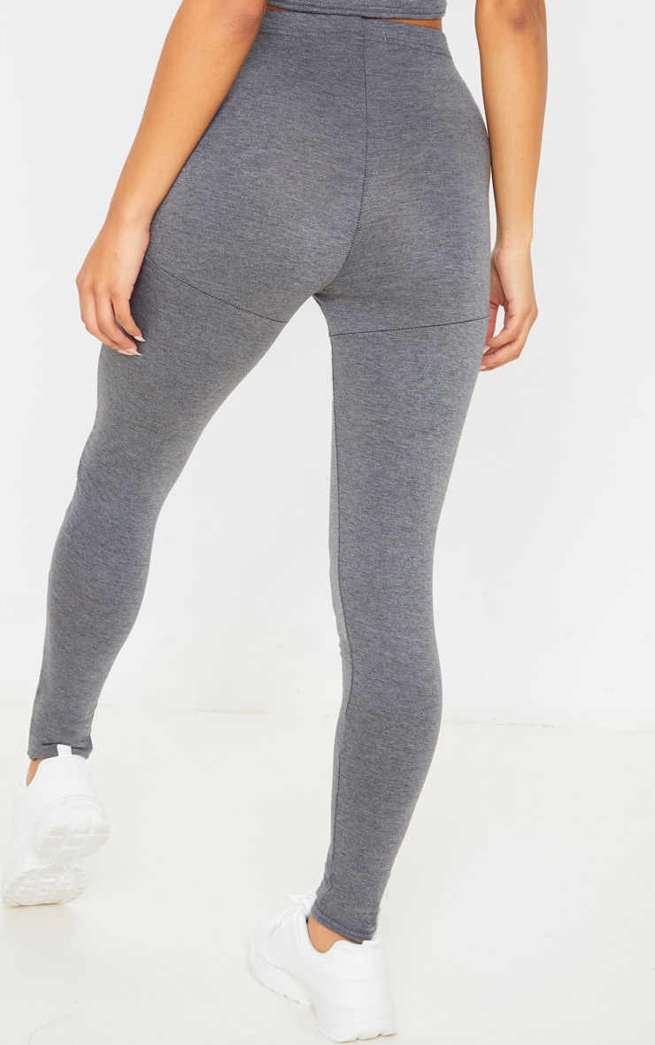 Charcoal Grey Jersey Seam Detail Legging 4