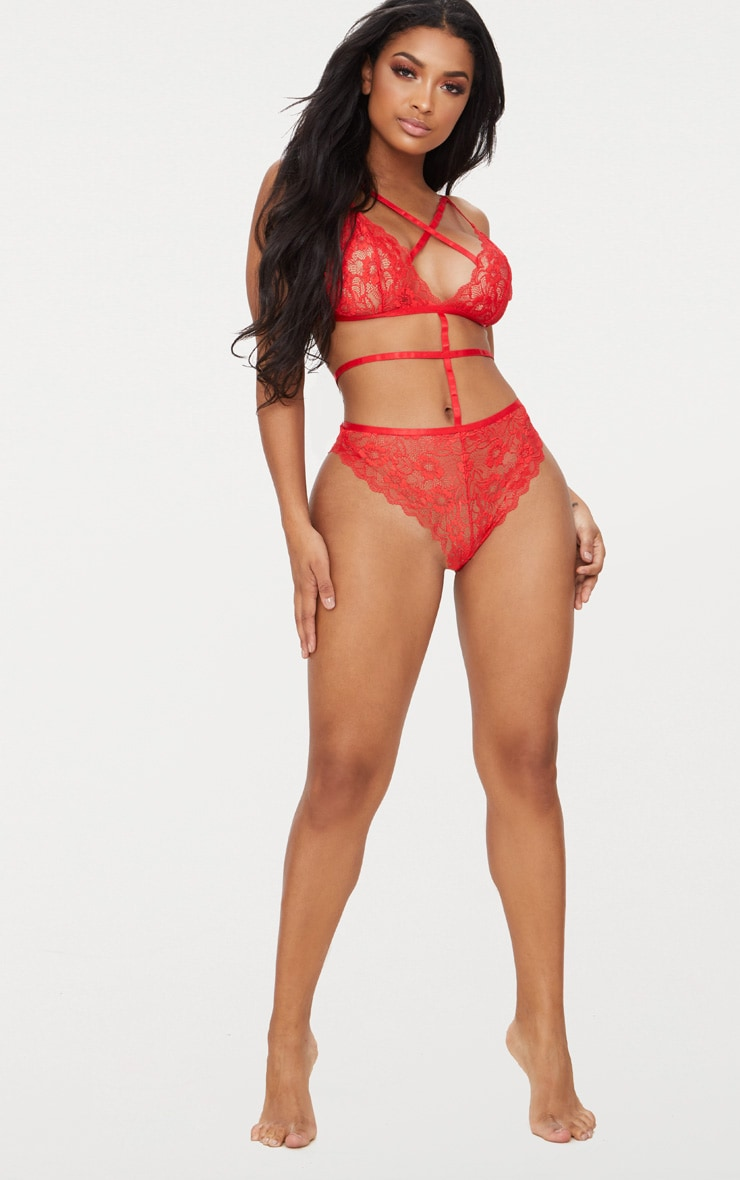 Red Lace Cross Front Strappy Waist Body 4