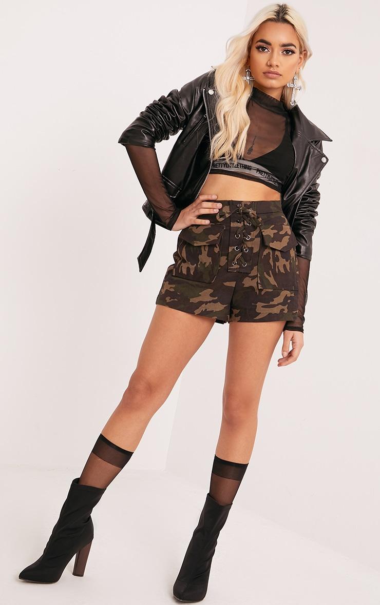 Katelyn Khaki Camo Lace Up Shorts 4