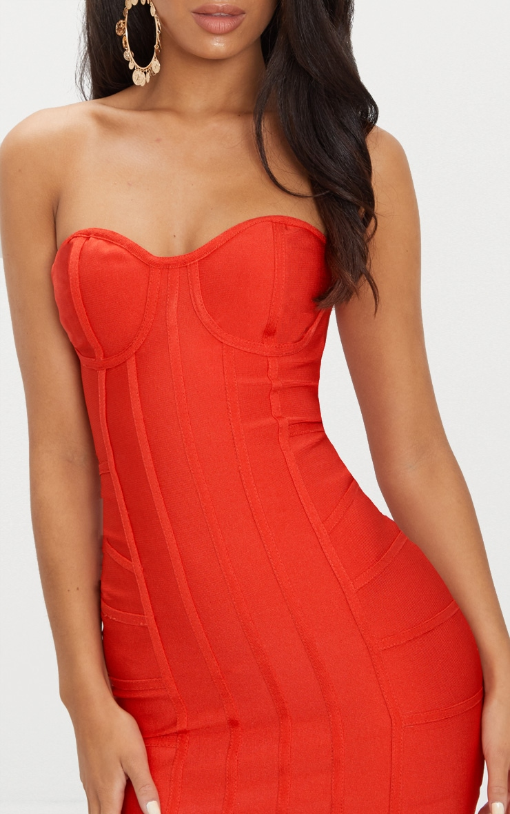 Cloe Red Bandage Panel Bodycon Dress 5