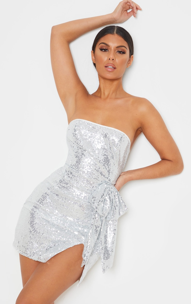 Silver Sequin Bow Detail Bandeau Bodycon Dress 1