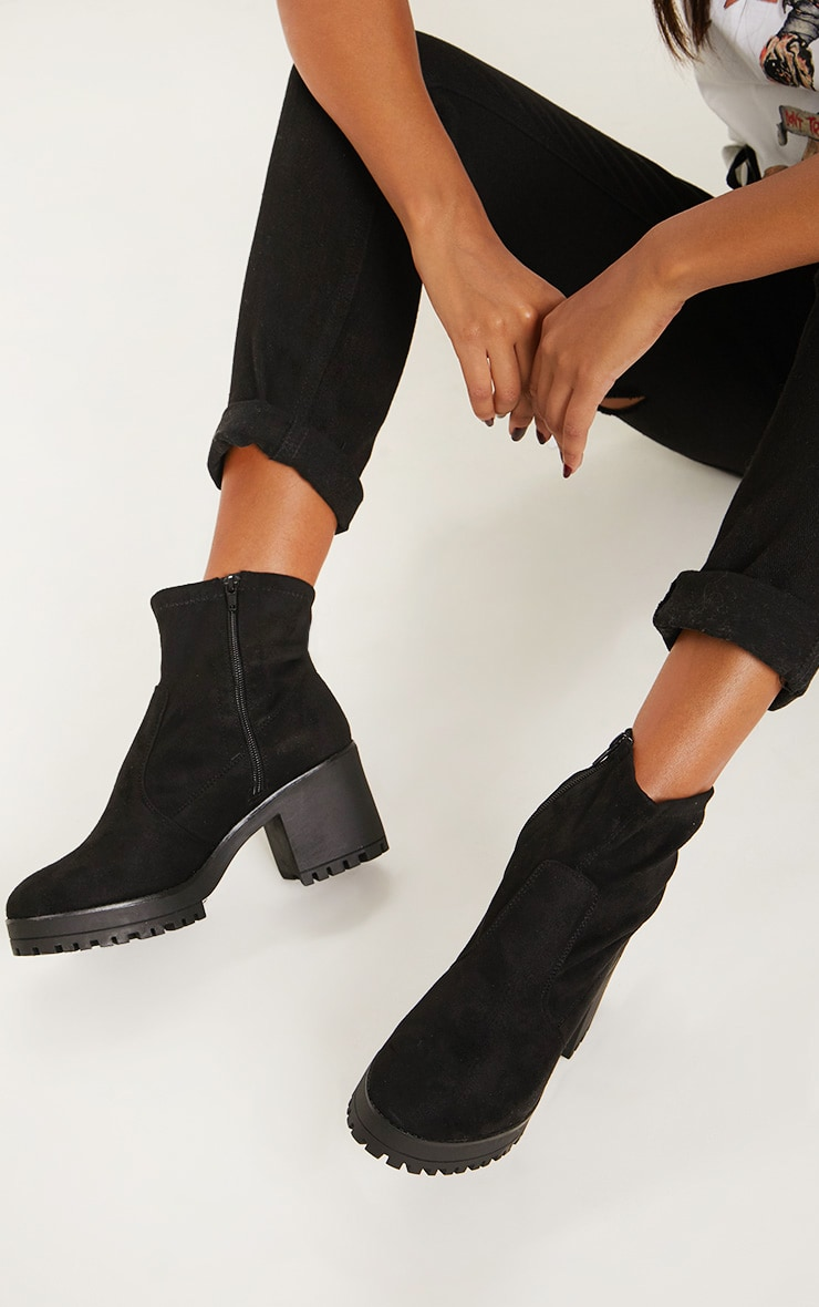 Black Chunky Sock Boot  2