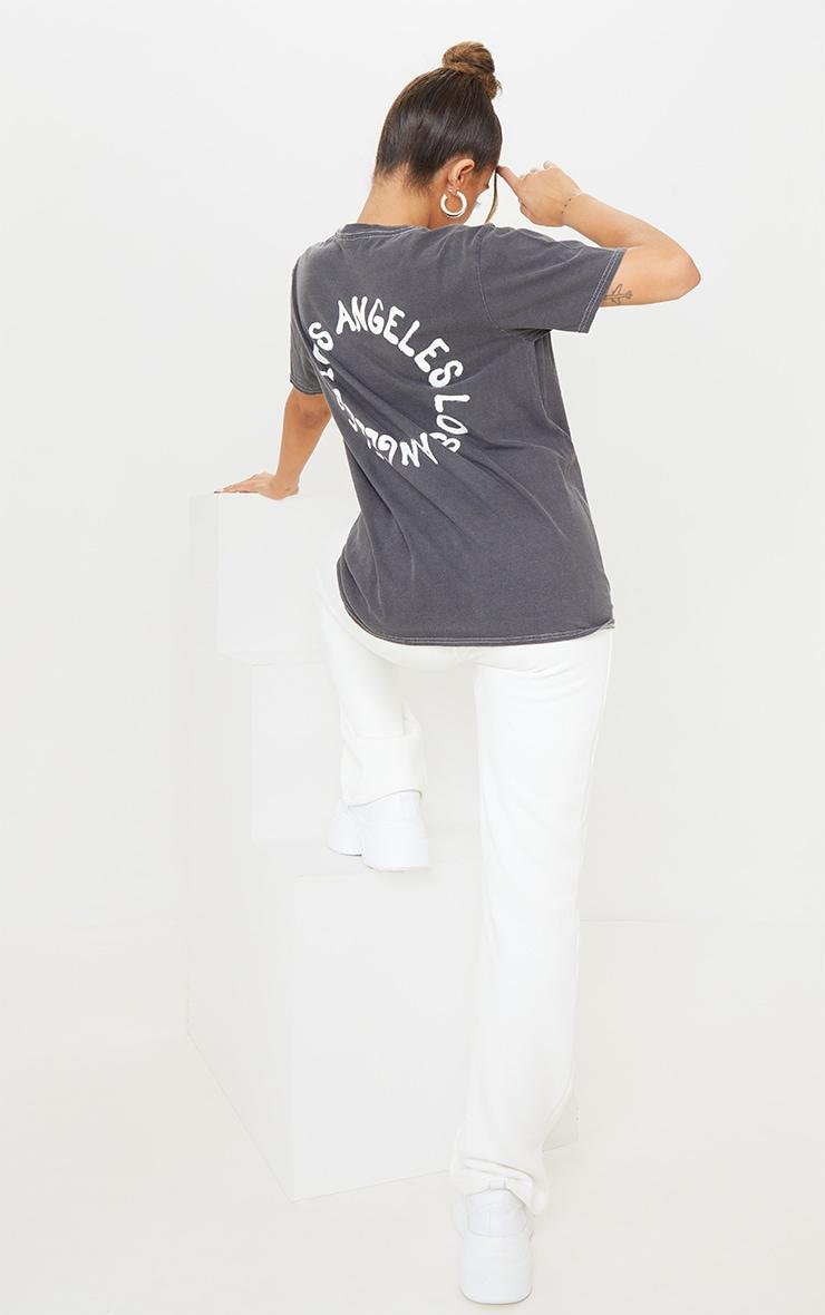 Charcoal LA Circle Print Washed T Shirt
