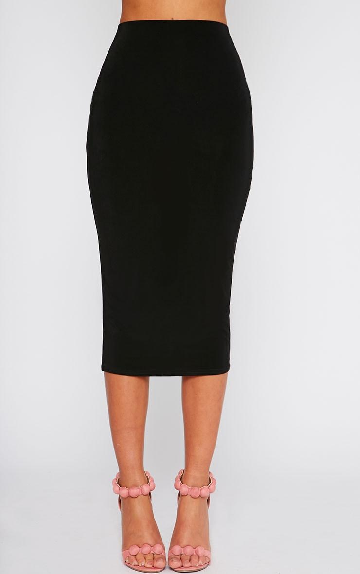 Siobhan Black Slinky Midi Skirt 2