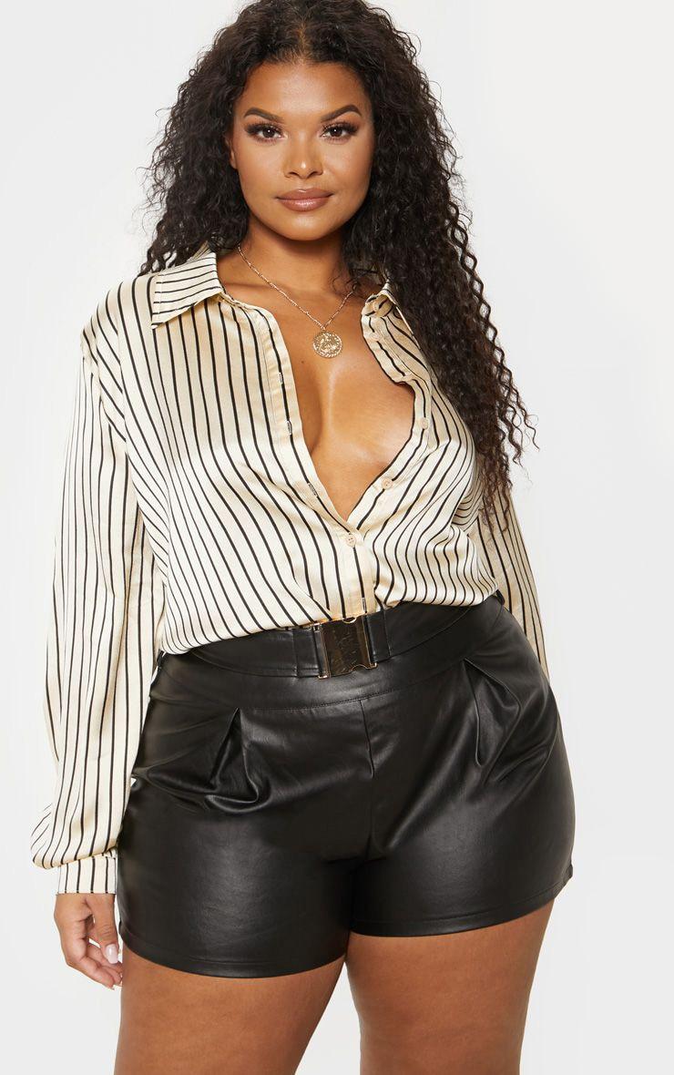 Plus Cream Stripe Oversized Shirt   1