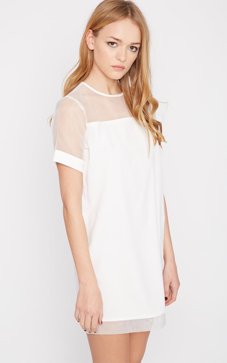 Brogan Cream Mesh Tshirt Dress 1