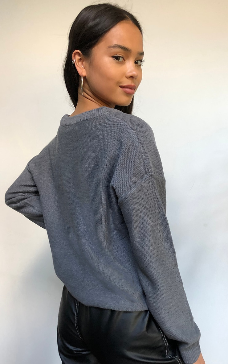 Grey Soft Touch Knitted Crew Neck Sweater 2