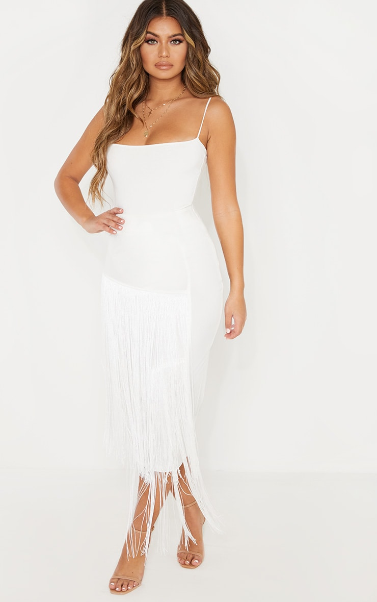 White Fringe Detail Tiered Midaxi Skirt 1