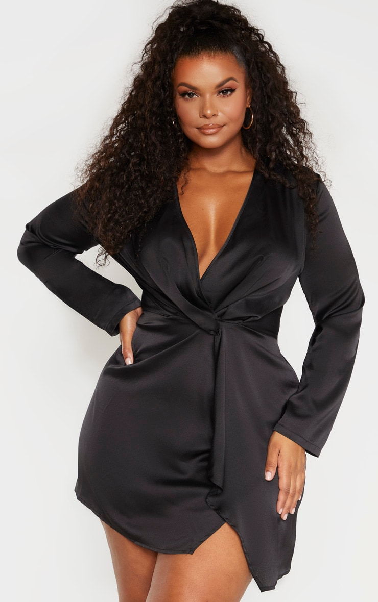 Plus Black Satin Long Sleeve Wrap Dress  1
