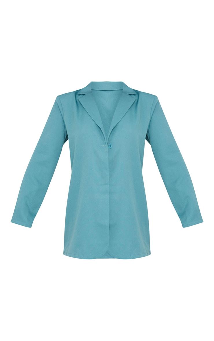 Sage Blue Woven Button Detail Blazer 5