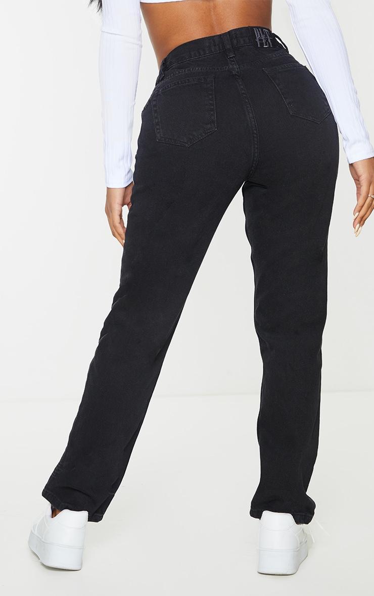 PRETTYLITTLETHING Shape Black V Front Waistband Straight Leg Jeans 3