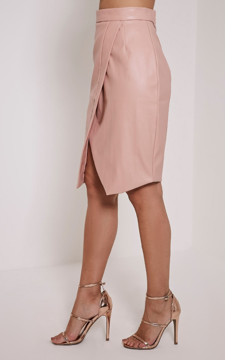 Greer Blush Faux Leather Wrap Midi Skirt 4