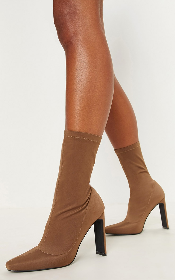 Taupe Lycra Flat Heel Ankle Boot 2