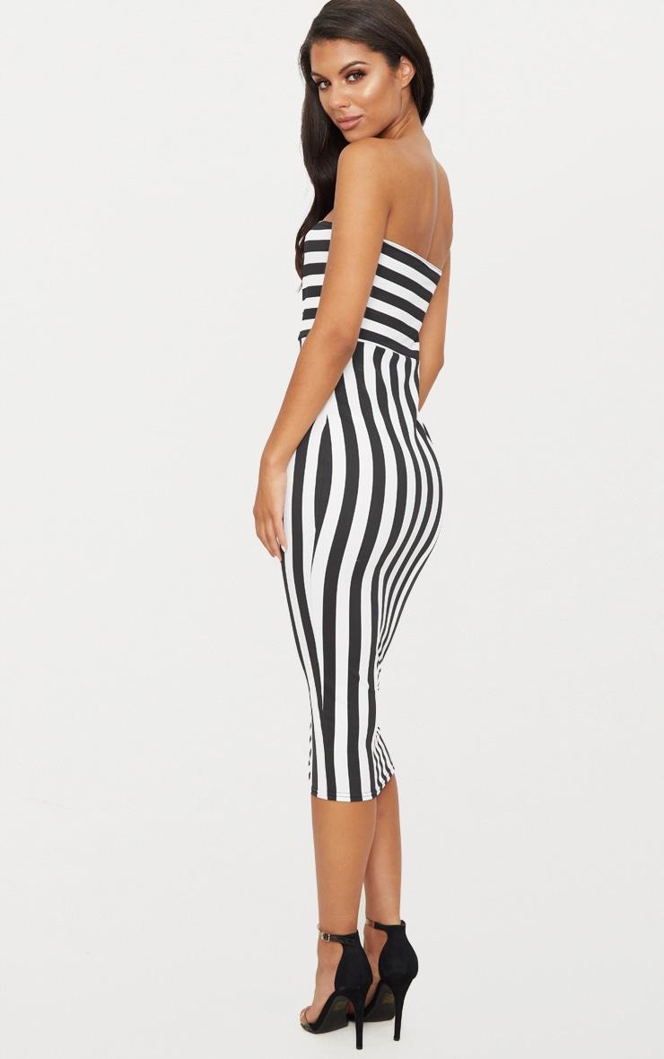 Black Contrast Stripe Bandeau Midi Dress 2