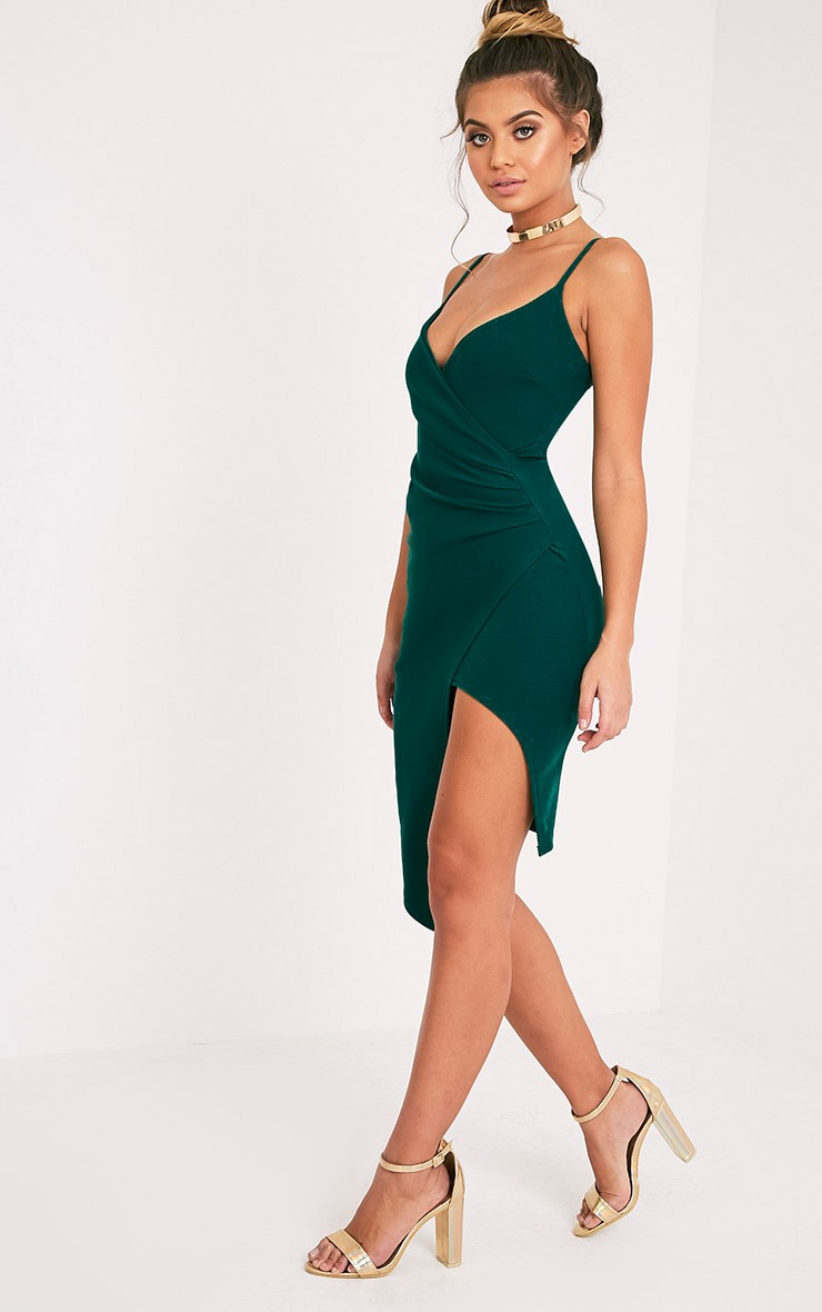 Lauriell Emerald Green Wrap Front Midi Dress 5