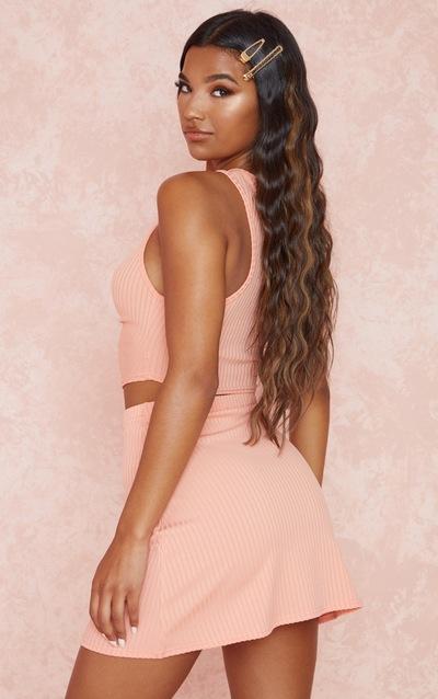 Peach Rib Ruched Crop & A Line Skirt Set