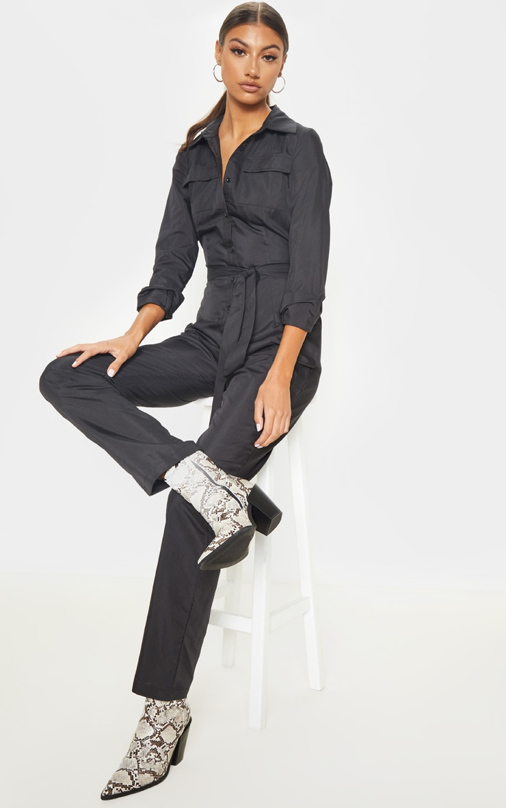 Tall Black Square Pocket Long Sleeve Utility Jumpsuit 4