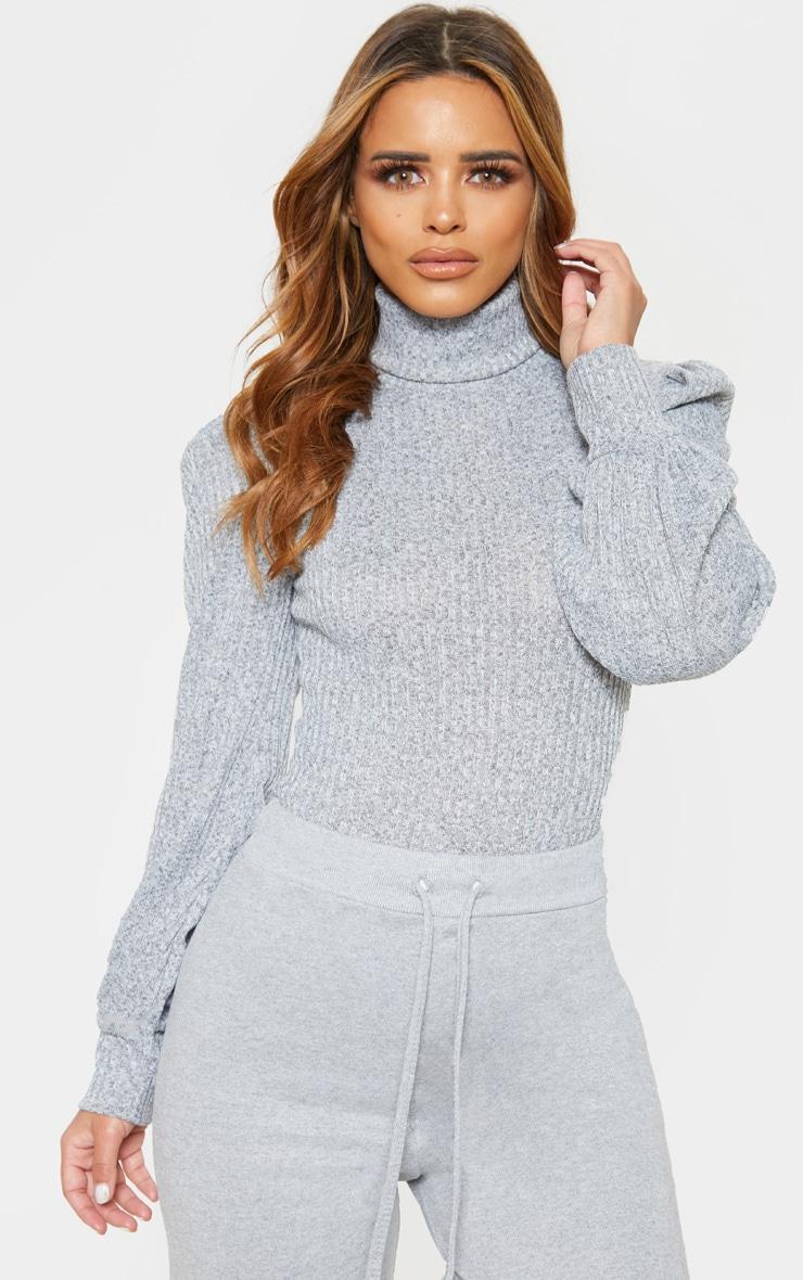 Petite Grey Rib Roll Neck Puff Sleeve Bodysuit 5