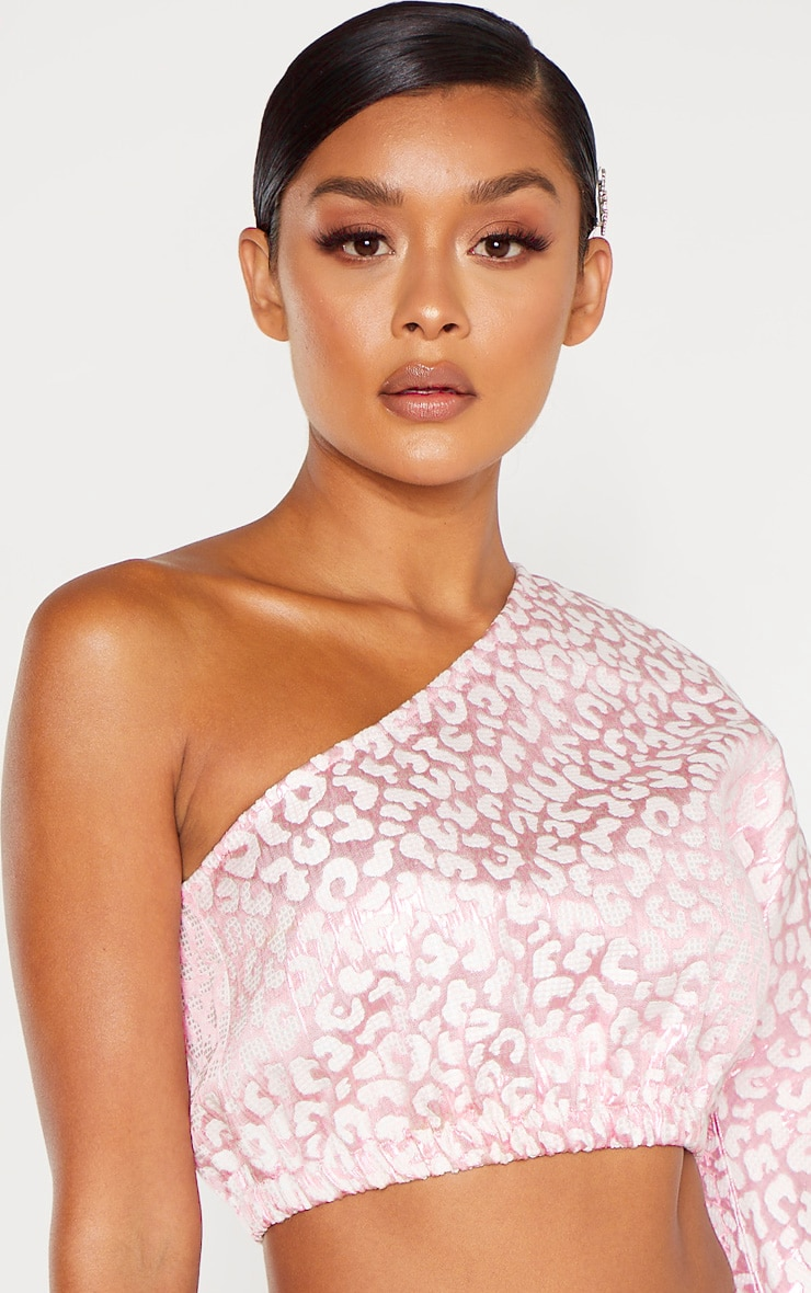 Pink Foil Print One Shoulder Crop Top 5