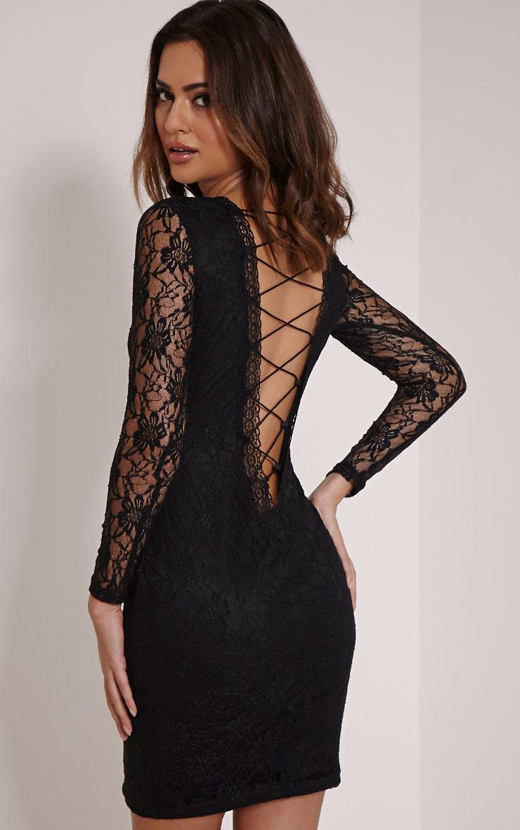 Reena Black Lace Up Detail Mini Dress 1