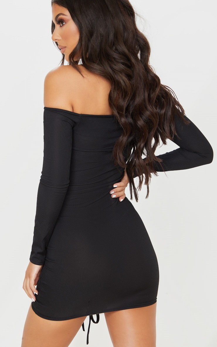 Black Ribbed Long Sleeve Bardot Ruched Bodycon Dress 2