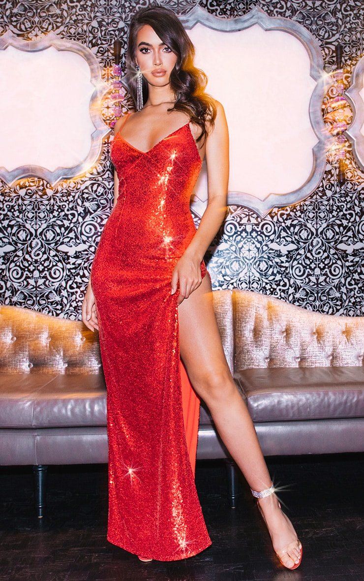 Red Sequin Extreme Split Plunge Maxi Dress 1
