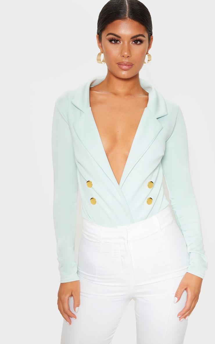 Mint Gold Button Blazer Bodysuit 1