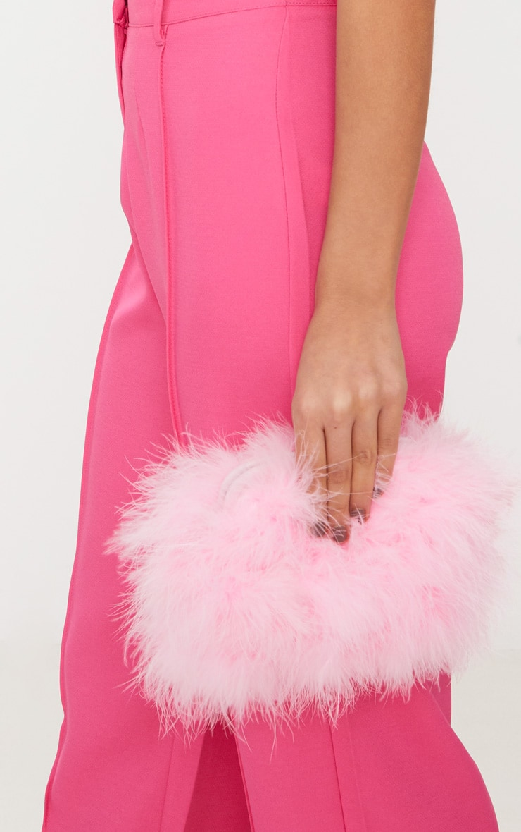 Candy Pink Marabou Feather Clutch Bag 2
