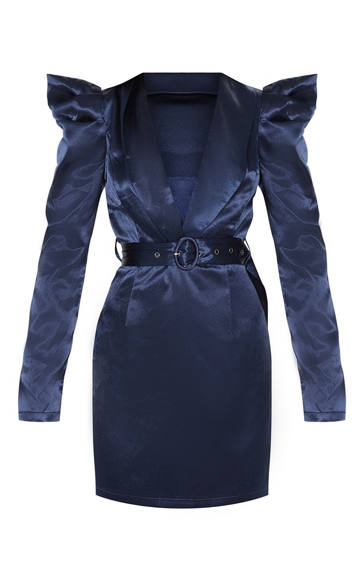 Navy Shoulder Detail Belted Blazer Style Bodycon Dress 3