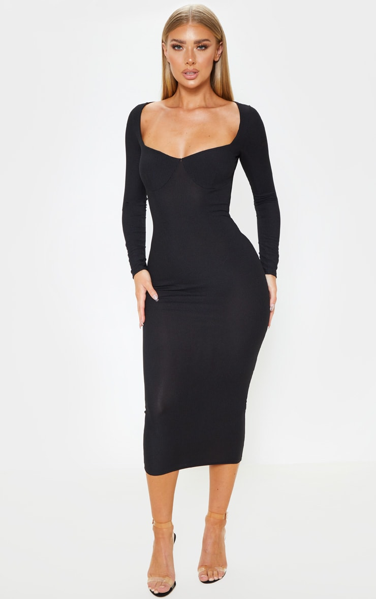 Black Ribbed Long Sleeve Cup Detail Midi Dress 1