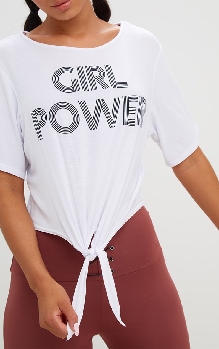 Girl Power Crop Tie Front Top White 5