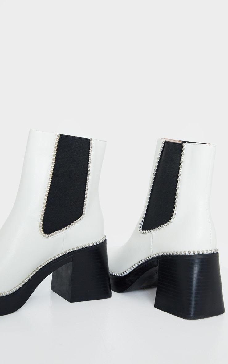 White Square Toe Chunky Block Heel Chelsea Boot 4