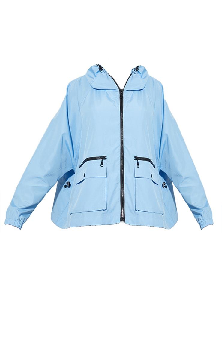 Turquoise Nylon Pocket Front Zip Detail Tracksuit Jacket 5