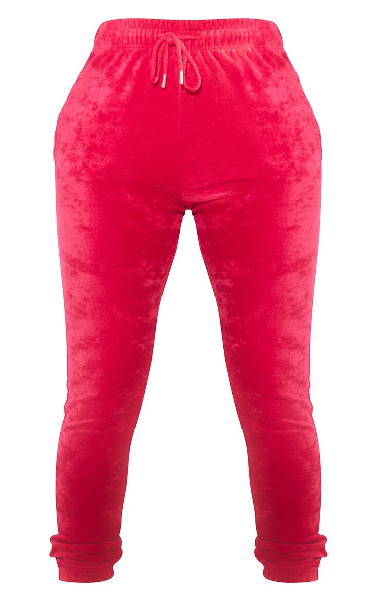 PRETTYLITTLETHING Shape Neon Pink Velour Skinny Joggers 5