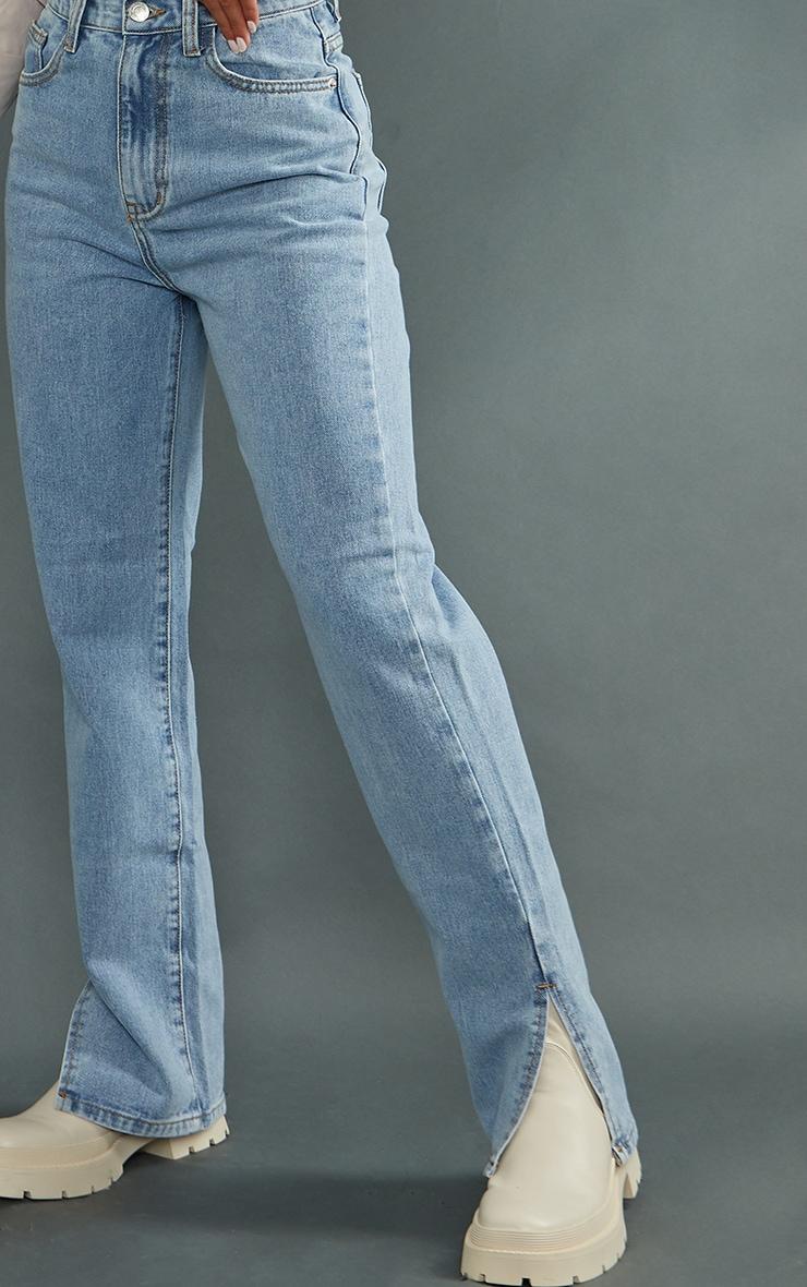 Petite Light Wash Split Hem Jeans 4