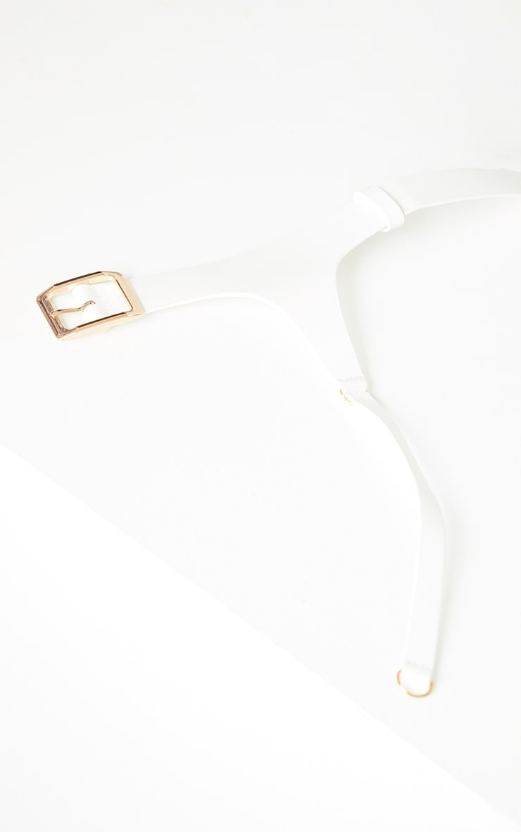 White PU Rose Buckle Waist Belt 3