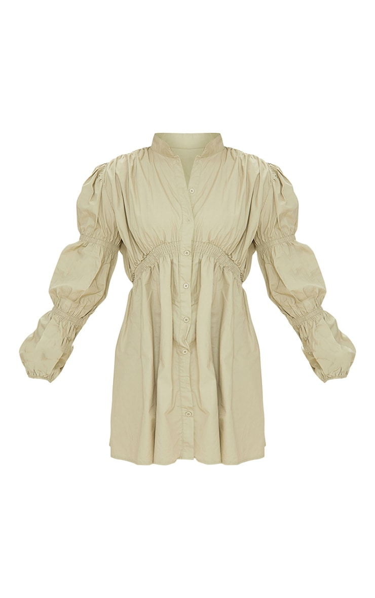Sage Green Cotton Ruched Arm Detail Shirt Dress 5