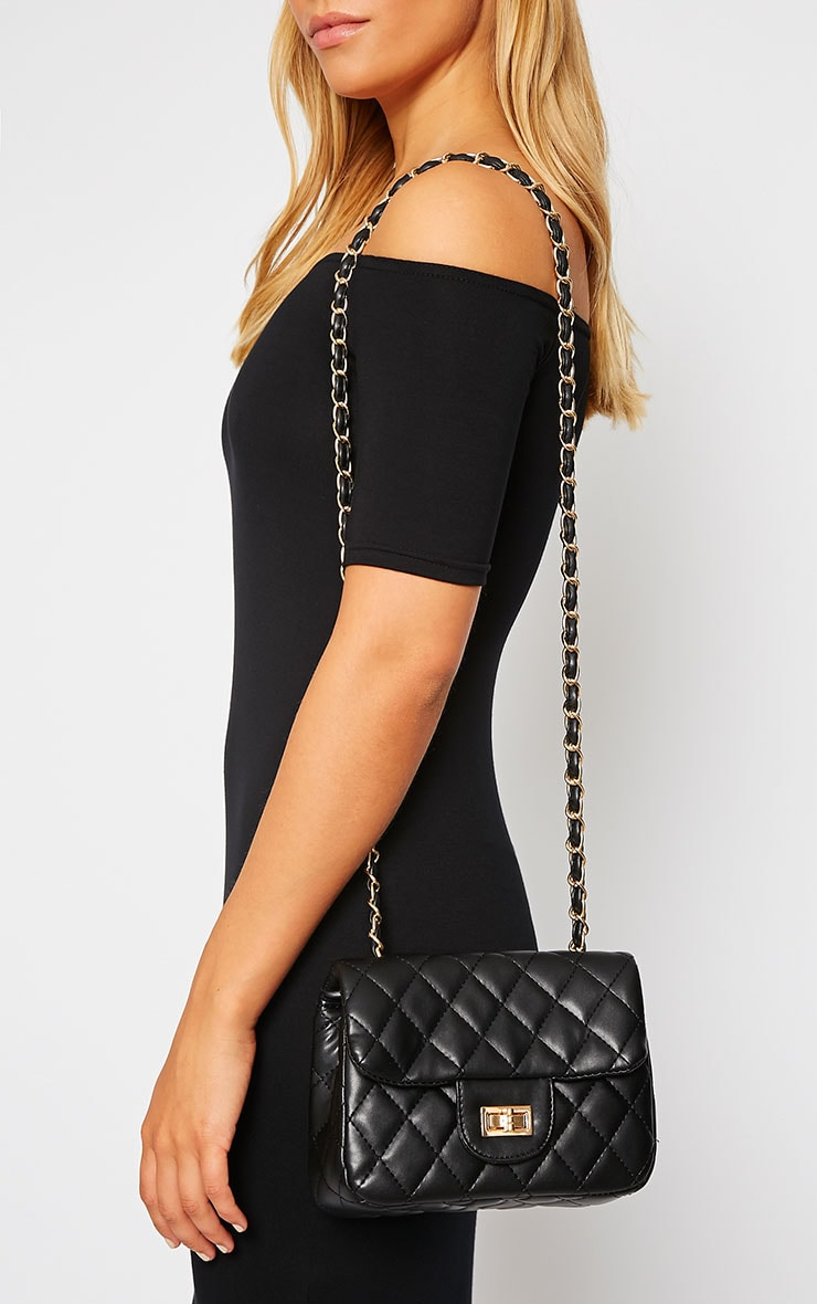 Corena Black Quilted Bag 1