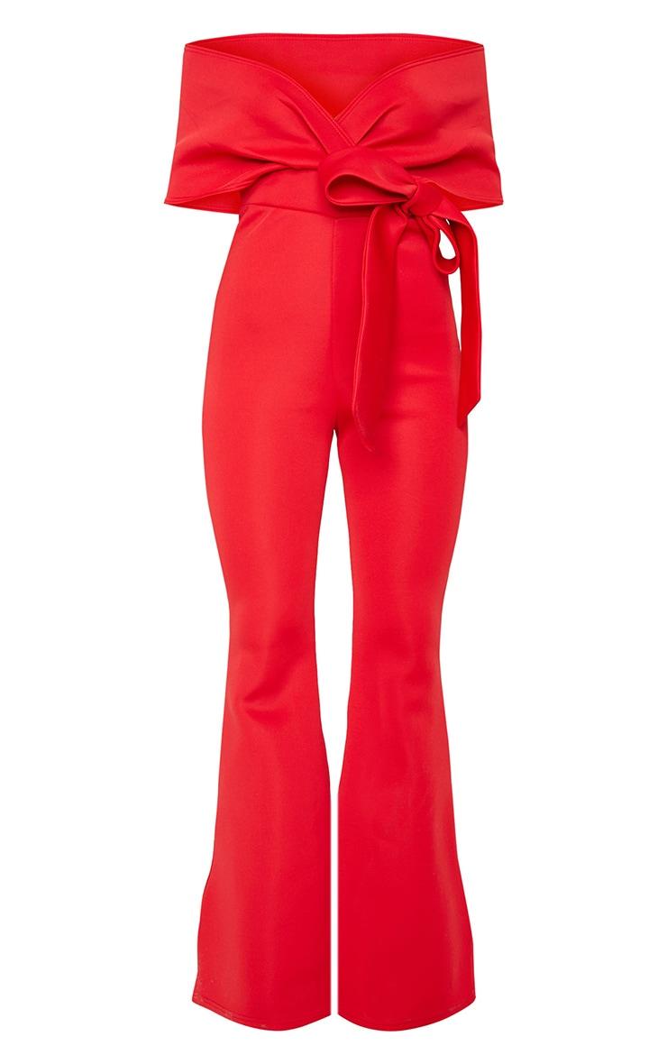 Red Bardot Flared Leg Bonded Scuba Jumpsuit 5