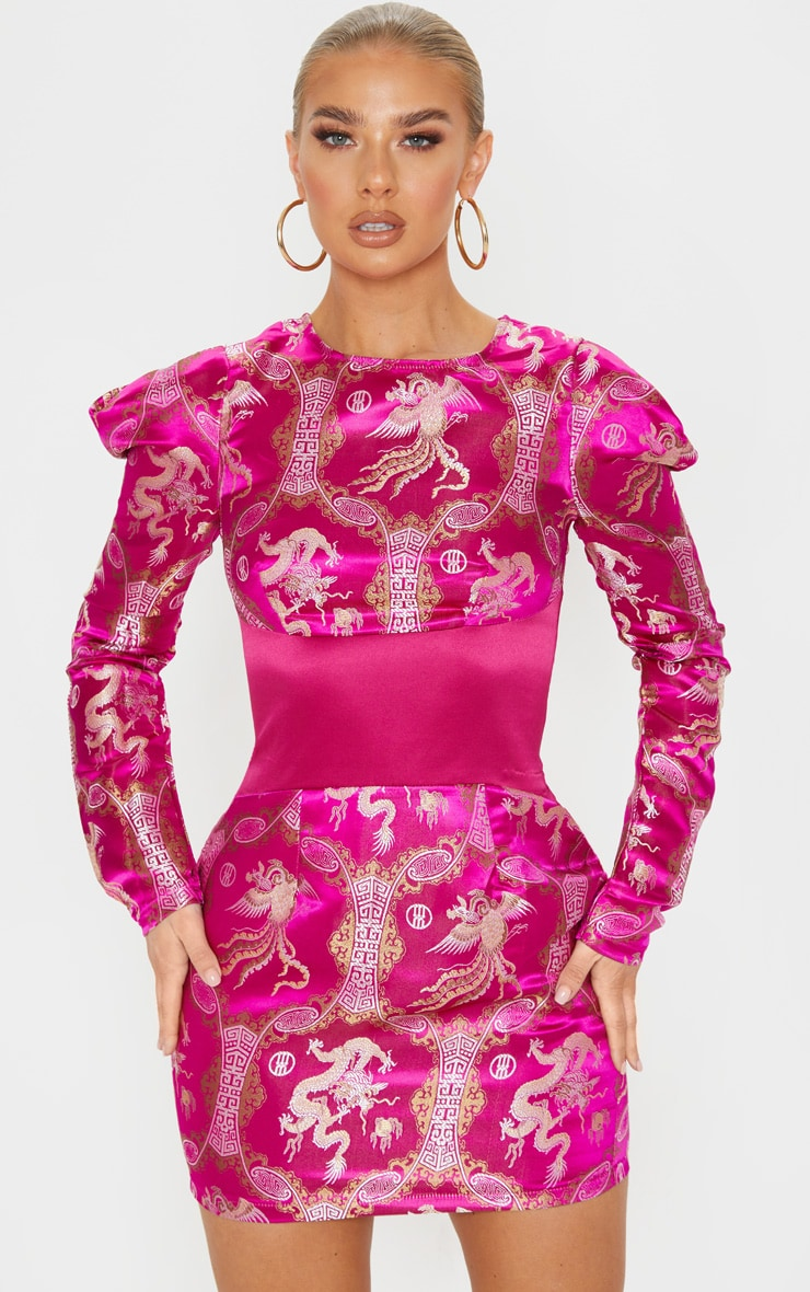 Pink Jacquard Oriental Waist Panel Detail Bodycon Dress 1