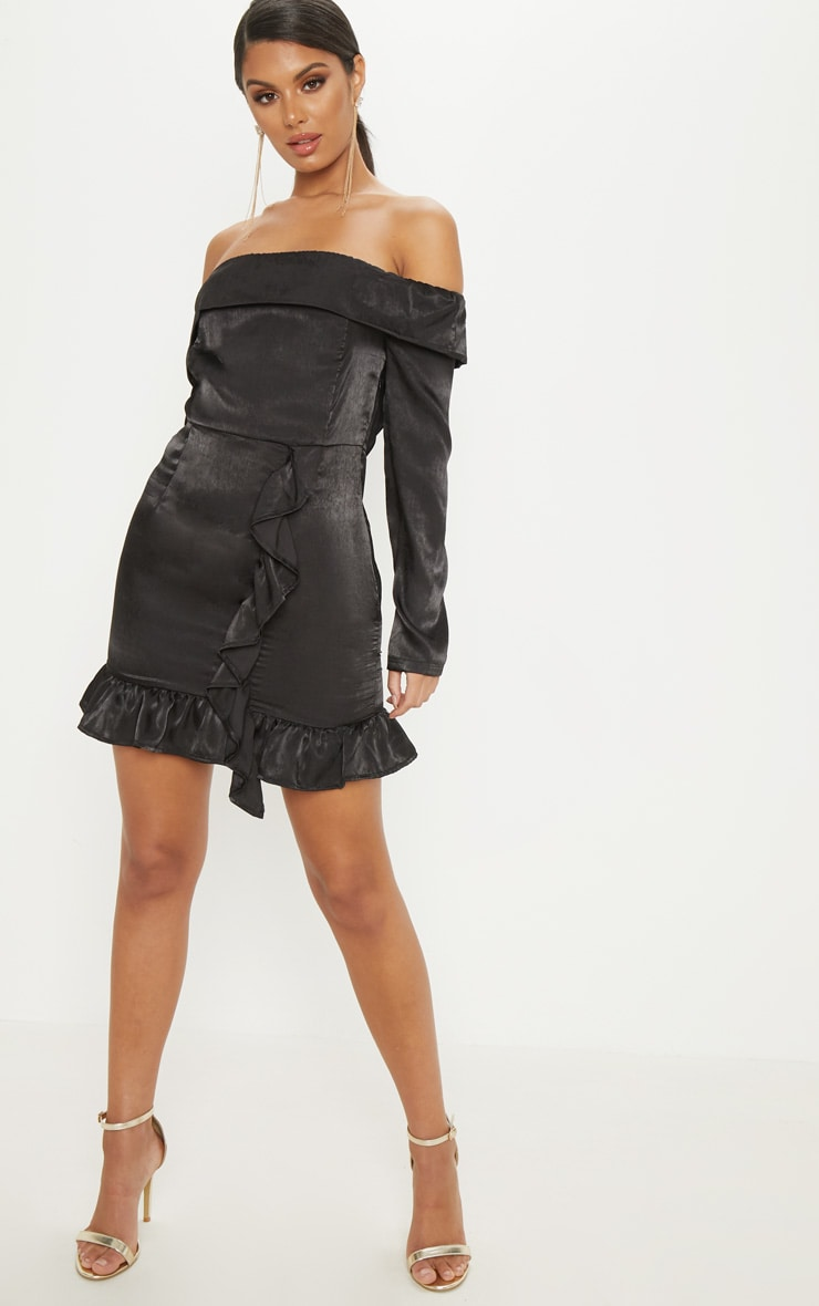 Black Satin Bardot Frill Bodycon Dress 4