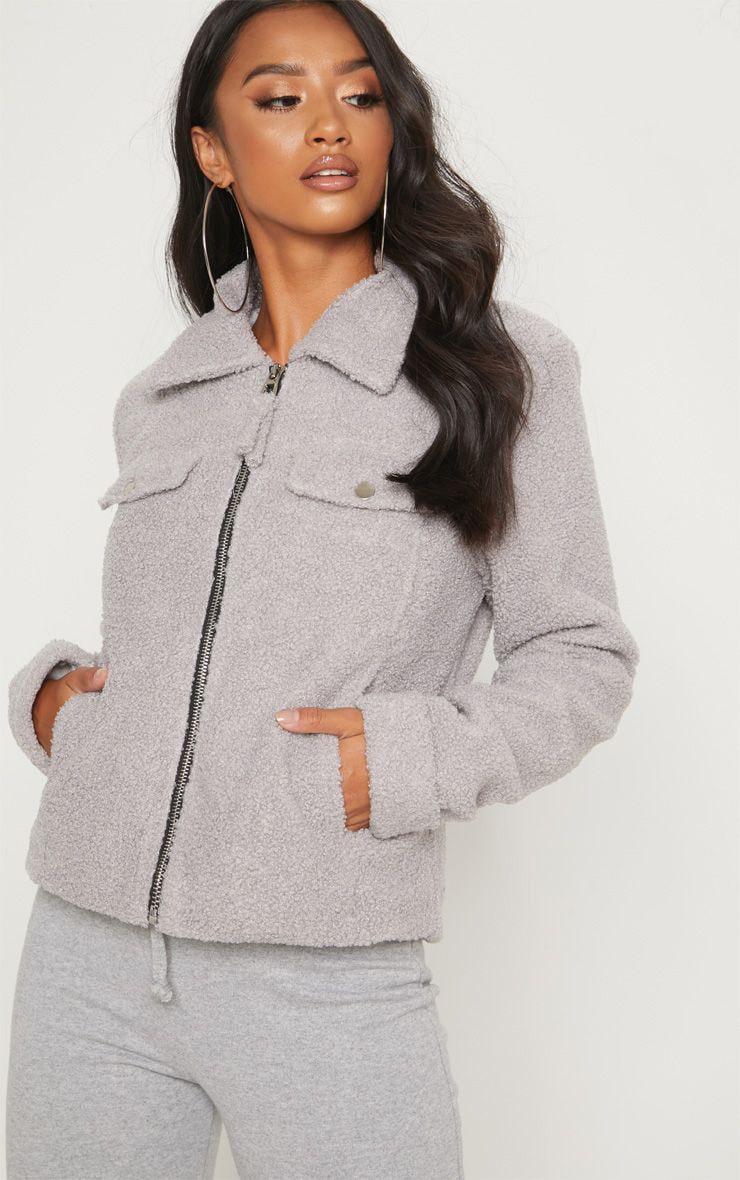 Petite Grey Teddy Fleece Pocket Detail Jacket 1