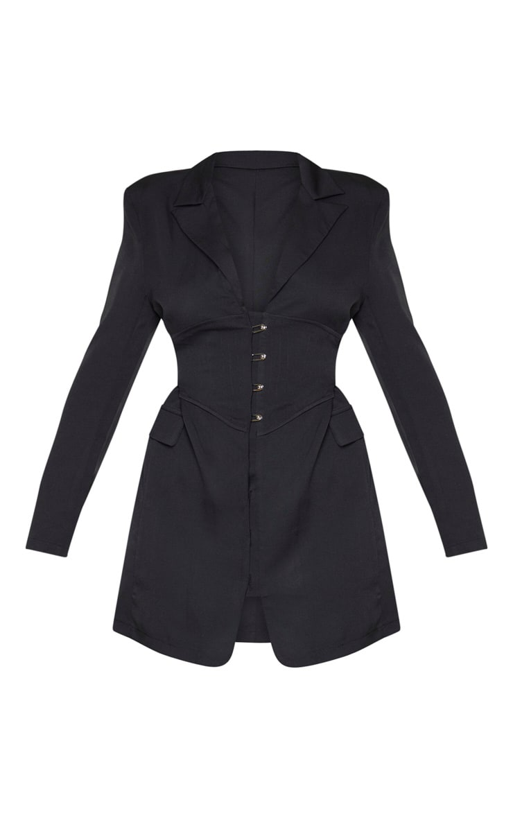 Black Pin Detail Corset Blazer Dress 3