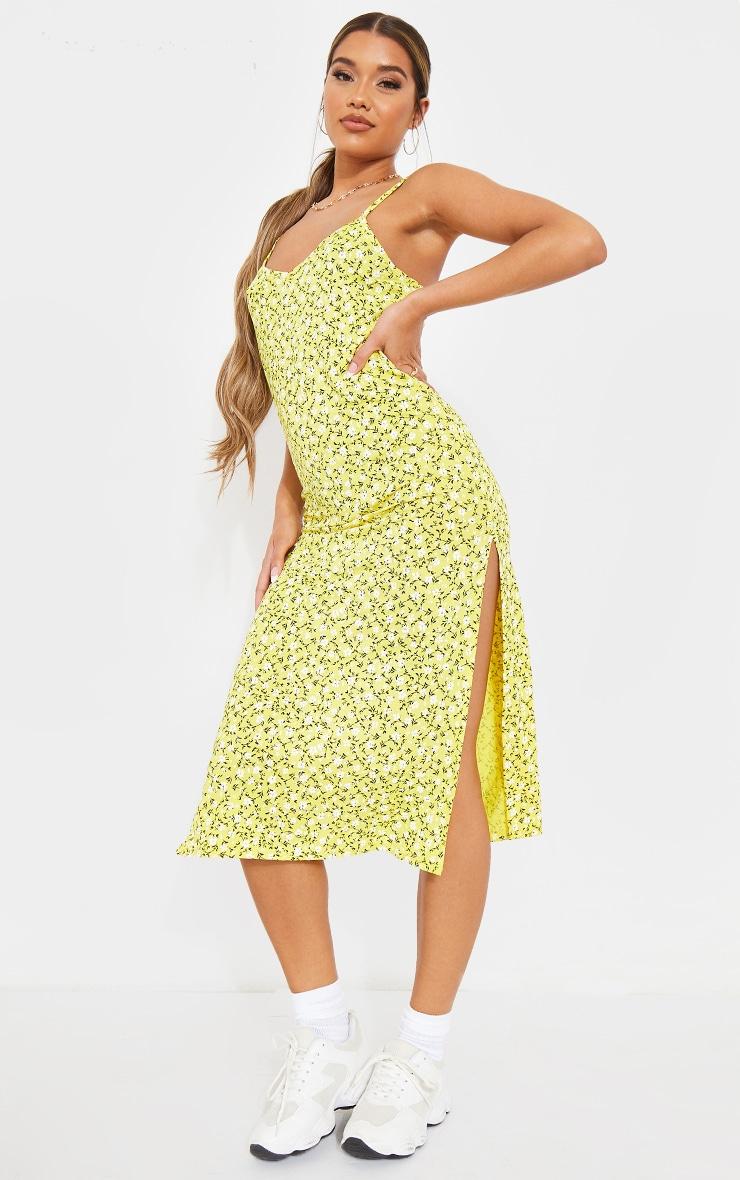 Yellow Ditsy Floral Jersey Split Midi Dress 4
