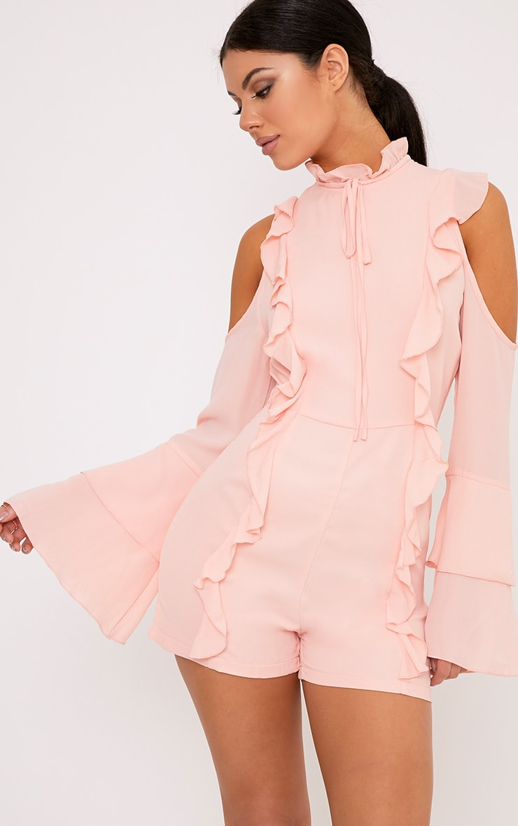 Samantha Pink Ruffle Tie Neck Playsuit 1