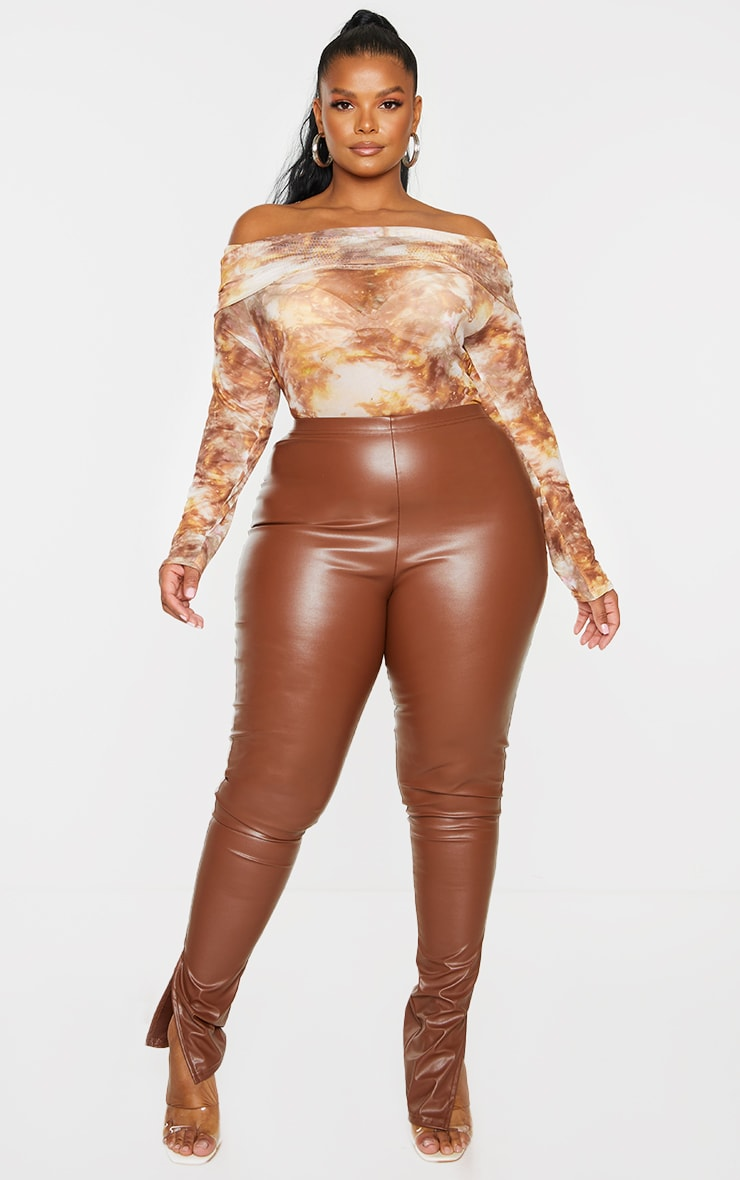 Plus Brown Tie Dye Print Mesh Bardot Bodysuit 3